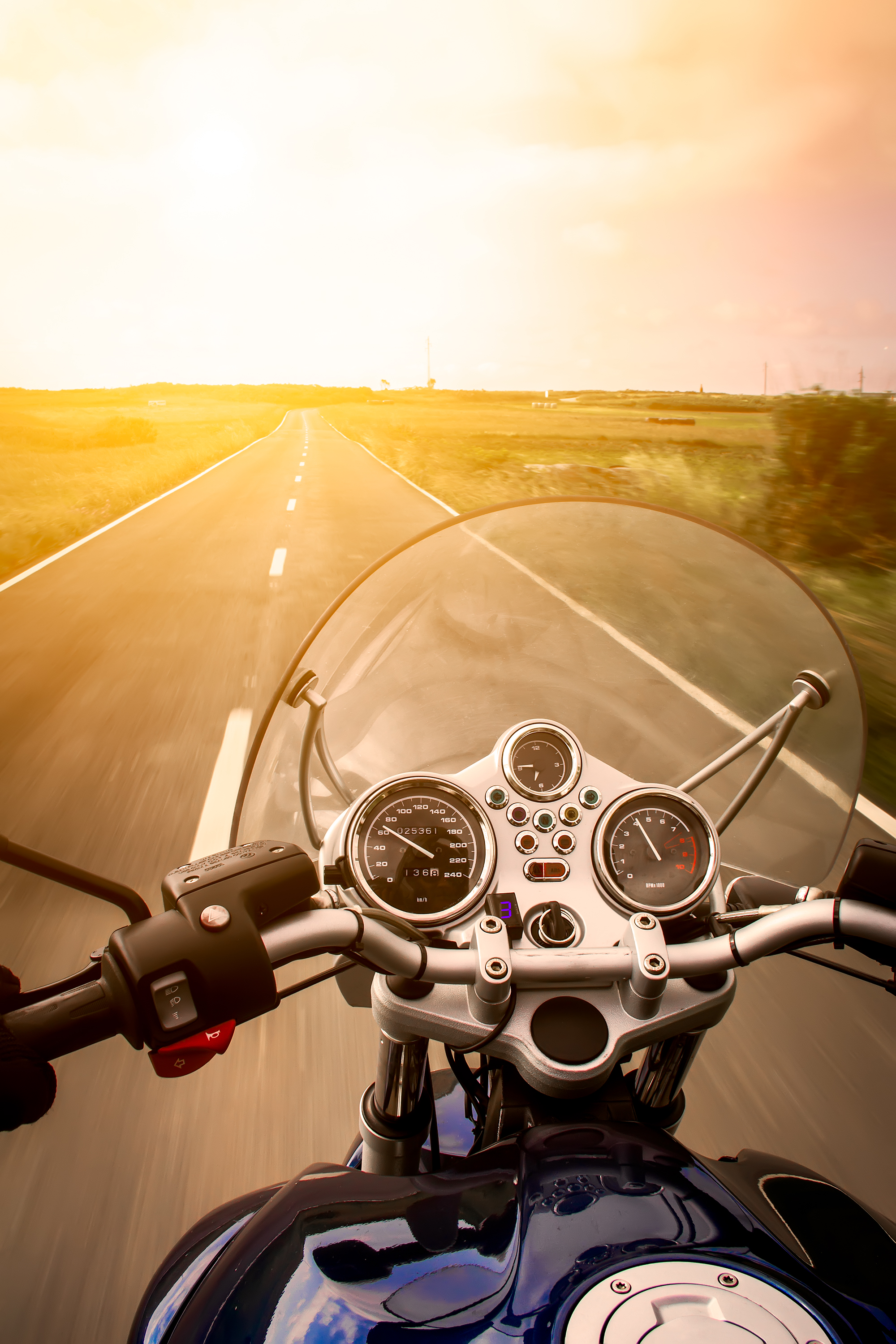 View from a motorcycle on road